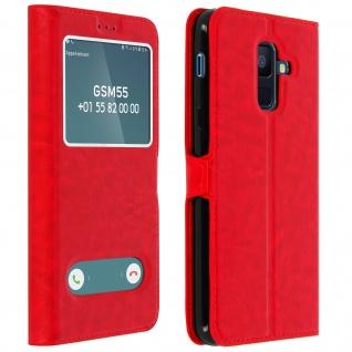 Flip Cover Doppelfenster & Standfunktion für Samsung Galaxy A6 Plus - Rot