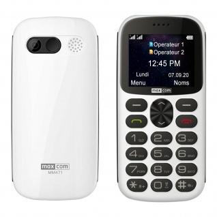 Senior Handy Dual Sim 1400mAh Akku, 14Std. Akkulaufzeit MM471 Maxcom - Weiß
