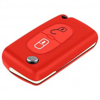Autoschlüssel Hülle, Silikon Schutzhülle Peugeot 307, 407, 408, 607, 2008 - Rot