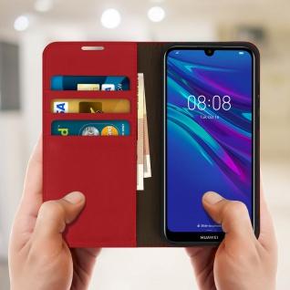 Business Leder Cover, Schutzhülle mit Geldbörse Huawei Y6 2019 - Rot - Vorschau 3