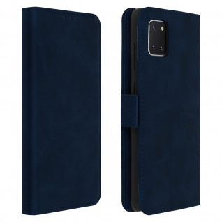 Dunkelblaue Samsung Galaxy Note 10 Lite Hülle mit Kartenfächer und Standfunktion