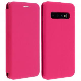 Soft Touch Cover Samsung Galaxy S10, Kartenfach und Standfunktion - Fuchsienrot