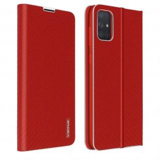 Samsung Galaxy A71 Klappetui, Cover mit Carbon Design & Ständer ? Rot