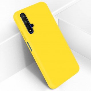 Halbsteife Silikon Handyhülle Honor 20, Huawei Nova 5T, Soft Touch - Gelb - Vorschau 2