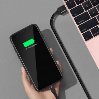 Micro-USB / USB-Ladekabel Aluminium, Aufladen & Synchronisation 1m - Schwarz - Vorschau 3