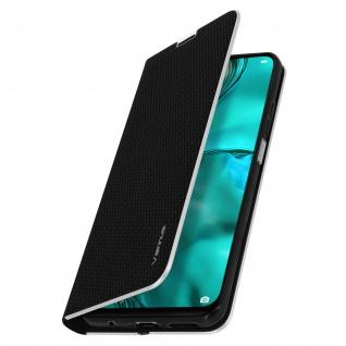 Huawei P40 Lite Klappetui, Cover mit Carbon Design & Ständer ? Schwarz - Vorschau 2