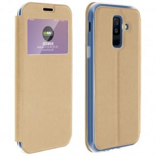 Flip Cover Sichtfenster & Kartenfach Gold für Galaxy A6 Plus - Standfunktion