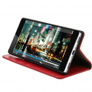 Huawei P8 Flip-Schutzhülle aus Echtleder im Brieftaschenstil - Rot - Vorschau 4