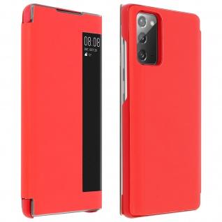 Window View Klapphülle, Etui mit Sichtfenster für Samsung Galaxy Note 20 ? Rot