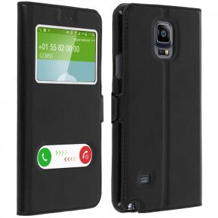 Flip Cover Doppelfenster & Standfunktion, Klappetui für Galaxy Note 4 - Schwarz