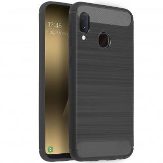 Samsung Galaxy A20e Silikon Schutzhülle mit Carbon/Aluminium Look - Grau