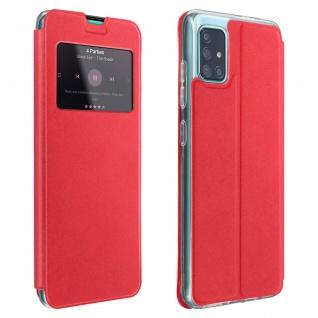 Samsung Galaxy A71 Kunstlederetui mit Sichtfenster & Kartenfach - Rot