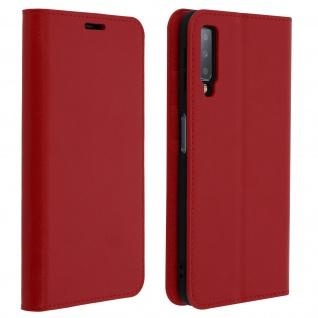 Business Leder Cover, Schutzhülle mit Geldbörse für Galaxy A7 2018 - Rot