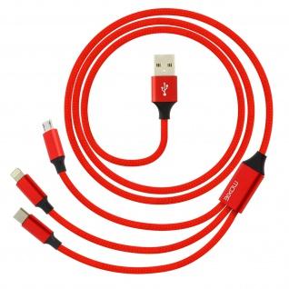 Moxie 3in1 Ladekabel mit Lightning USB-C und Micro USB Anschluss 3A - Rot