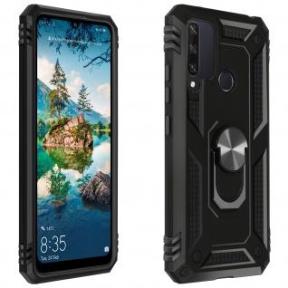 Hybrid Handyhülle mit Ring Halterung für Huawei Y6p ? Schwarz