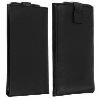 Qialino Slim Handytasche Größe XXL - Brieftaschenstil aus Echtleder - Schwarz