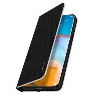 Huawei P40 Pro Klappetui, Cover mit Carbon Design & Ständer ? Schwarz - Vorschau 2