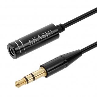 Audiokabel 3.5mm / 3.5mm Klinkenkabel, männlich/weiblich, 1m by Akashi - Schwarz