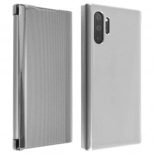 Hald-durchsichtige Klapphülle mit Chrom Design für Galaxy Note 10 Plus - Silber