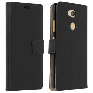 Soft Touch Flip-Cover Geldbörse mit Standfunktion für Sony Xperia L2 - Schwarz