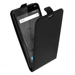 Vertikales Flip Cover für Wiko Lenny 4 Plus mit Kartenfach - Schwarz