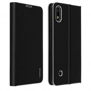 Samsung Galaxy A10 Klappetui, Cover mit Carbon Design & Ständer - Schwarz