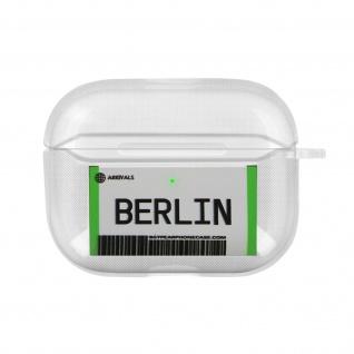 Weiche Silikonhülle für AirPods Pro, Berlin Fahrkarte Design - Weiß