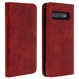 Flip Cover Geldbörse, Kunstleder Klappetui für Samsung Galaxy S10 - Rot