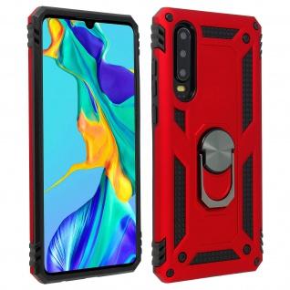Hybrid Handyhülle mit Ring Halterung für Huawei P30 ? Rot