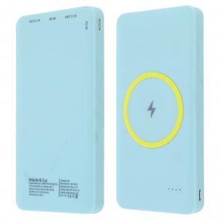 10 000mAh 2.1A Powerbank 2x USB-Anschlüsse QI-Technologie - Blau