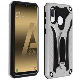 Samsung Galaxy A20e Hybrid stoßfeste Schutzhülle mit Ständer - Silber