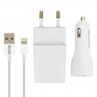 Ladegerät-Set Wand-Ladegerät 2.1 A + KFZ-Ladegerät + iPhone/iPad Kabel 1m - Weiß
