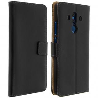 Huawei Mate 10 Pro Cover aus Echtleder mit Standfunktion & Kartenfach - Schwarz