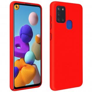Halbsteife Silikon Handyhülle Samsung Galaxy A21s, Soft Touch ? Rot