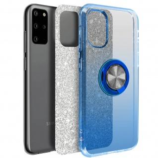 Glitter Silikonhülle mit Ring Halterung für Samsung Galaxy S20 Plus - Blau
