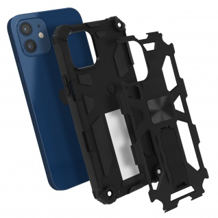 Apple iPhone 12 Mini Handyhülle mit Ständer, Metallic Design - Schwarz