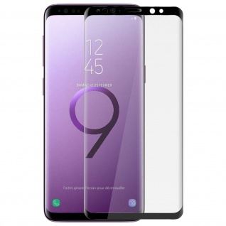 Samsung Galaxy S9 Glas Schutzfolien abgerundete Ecken - 4Smarts - Schwarz