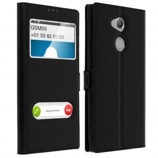 Sony Xperia XA2 Ultra Flip Cover mit Doppelfenster & Standfunktion - Schwarz