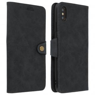 Retrohülle, Flip wallet Cover mit Standfunktion für Apple iPhone XS Max - Grau
