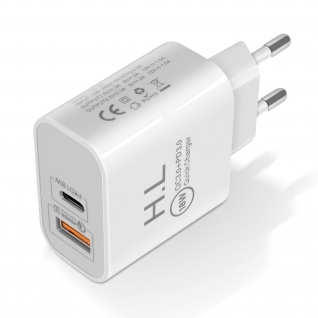 USB / USB-C 18W Power Delivery Ladegerät Quick Charge 3.0 â€? Weiß