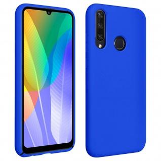 Halbsteife Silikon Handyhülle Huawei Y6p, Soft Touch - Blau