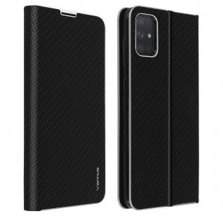 Samsung Galaxy A71 Klappetui, Cover mit Carbon Design & Ständer - Schwarz