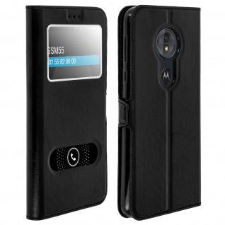 Flip Cover Doppelfenster & Standfunktion, Klappetui Motorola Moto G6Play Schwarz