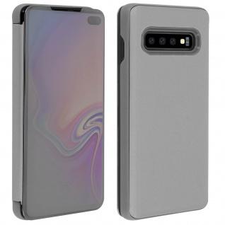 Samsung Galaxy S10 Plus Flip Cover mit Spiegeleffekt & Standfunktion - Silber - Vorschau 4