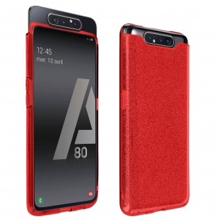 Schutzhülle, Glitter Case für Samsung Galaxy A80, shiny & girly Hülle â€? Rot