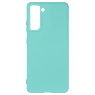 Halbsteife Silikon Handyhülle für Samsung Galaxy S21, Soft Touch ? Türkisblau