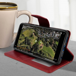 Flip Stand Cover Brieftasche & Standfunktion Huawei Honor 8X - Weinrot - Vorschau 4