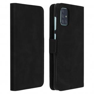 Klapphülle mit Kartenfächer / Standfunktion für Samsung Galaxy A71 - Schwarz