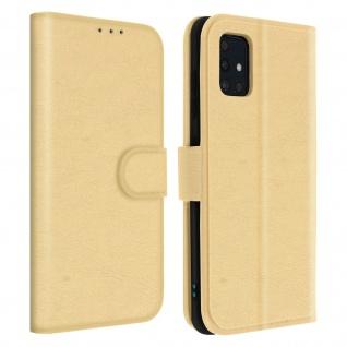 Flip Cover Geldbörse, Etui Kunstleder für Samsung Galaxy A51 ? Gold