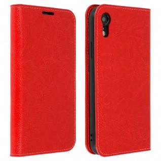 Business Leder Cover, Schutzhülle mit Geldbörse für Apple iPhone XR - Rot